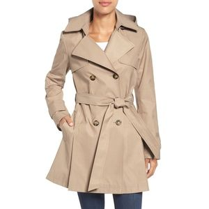 NEW Halogen Detachable Hood Trench Coat Sand Tan